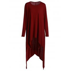 Casual Scoop Neck Loose-Fitting Long Sleeve Asymmetrical T-Shirt For Women - Wine Red - Xl
