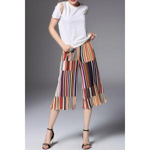 T-Shirt and Striped Pleated Pants Twinset -