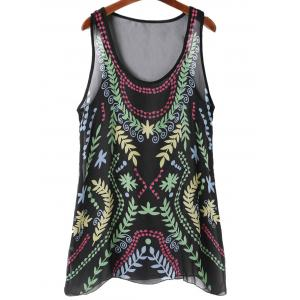 Sheer Chiffon Printed Long Tank Top - COLORMIX L