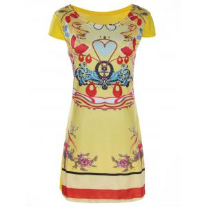 Stylish Scoop Collar Short Sleeve Floral Print Women's Dress - YELLOW S