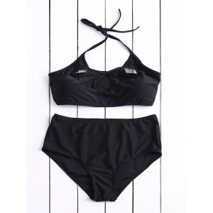 Casual Halter Hollow Out Solid Color High-Waisted Women's Bikini Set - Black - L