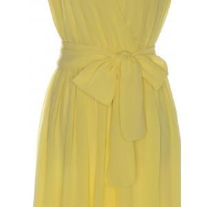 Sexy V-Neck Sleeveless Bowknot Embellished Women's Chiffon Dress -