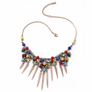 Vintage Faux Crystal Rivets Necklace For Women -