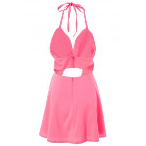 Sexy  Hollow Out Solid Color Bandage Halter Dress For Women -