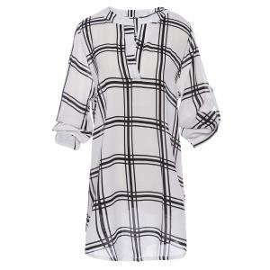 Stylish Plunging Neck Long Sleeve Plaid Chiffon Women's Blouse