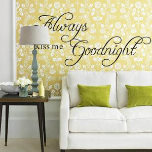 Chic Long Thin Version Black Words Always Kiss Me Removeable Wall Stick -
