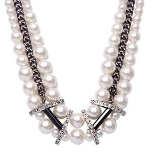 Multilayered Faux Pearl Necklace -