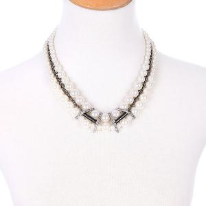 Multilayered Faux Pearl Necklace - WHITE