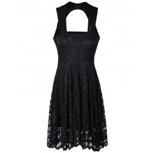 Sweetheart Lace Backless A Line Short Formal Dress - Black - M