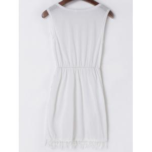 Sexy V-Neck Sleeveless Fringe White Dress For Women -