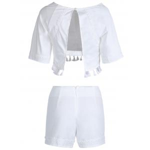 Stylish Round Neck Short Sleeves Hollow Out Fringe Backless Blouse and Shorts Suit For Women - WHITE S