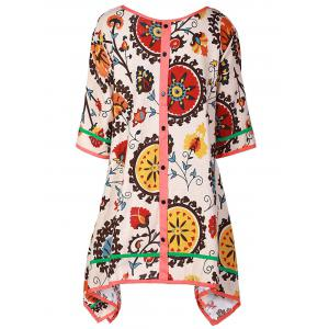 Casual Scoop Collar 3/4 Sleeve Printed Asymmetrical Women's Dress -