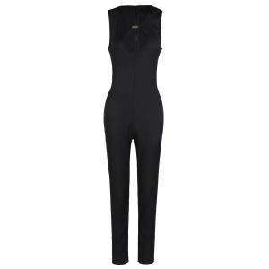 Sexy Round Neck Sleeveless Hollow Out Women's Jumpsuit