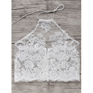 Embroidered Halter Crop Top -