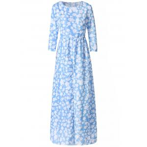 Stylish Round Neck 3/4 Sleeve Floral Print Women's Maxi Dress - Light Blue - L