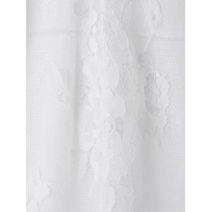 Plongeant Sexy cou à manches 3/4 Solid Color See-Through Dress Women 's  Lace - Blanc S