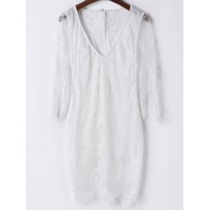 Sexy Plunging Neck 3/4 Sleeve Solid Color See-Through Women's Lace Dress - White - S
