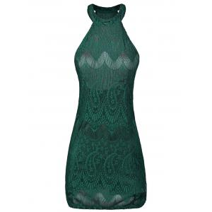 Halter Backless Bodycon Lace Club Dress - Green - S