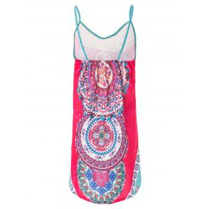 Sexy Spaghetti Strap Sleeveless Printed Loose-Fitting Women's Dress - RED S