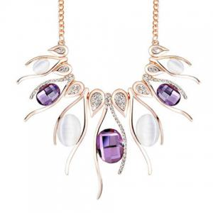 Noble Faux Amethyst Rhinestoned Necklace For Women