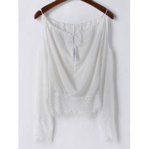 Sexy Scoop Neck Long Sleeve Off-The-Shoulder Women's Blouse - WHITE M