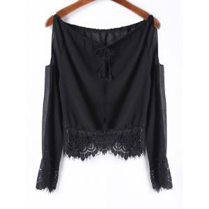 Sexy Scoop Neck Long Sleeve Off-The-Shoulder Women's Blouse - Black - M