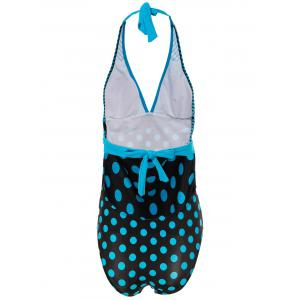 Sexy Halter Striped Polka Dot One-Piece Maillots de bain pour femmes - Pers 3XL