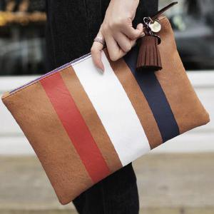 Leisure Colour Block and Striped Design Clutch Bag For Women -