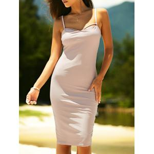 Bodycon Spaghetti Strap Criss-Cross Knee Length Dress
