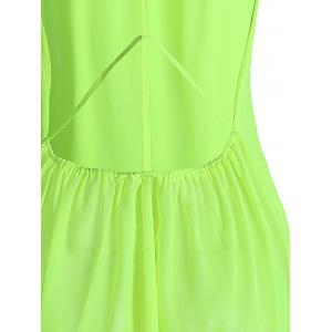 Sexy Scoop Neck Sleeveless Backless Chiffon Women's Blouse - GREEN M