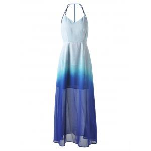 Long Ombre Backless Slip Prom Dress
