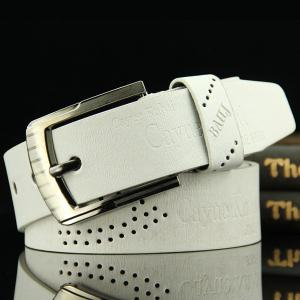 Stylish Hollow Out Hole Embellished Retro PU Wide Belt For Men - White - L