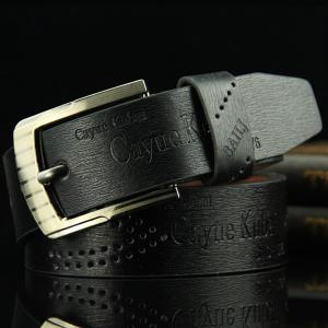 Stylish Hollow Out Hole Embellished Retro PU Wide Belt For Men - Black - L