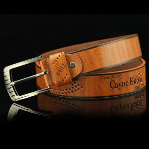 Stylish Hollow Out Hole Embellished Retro PU Wide Belt For Men -