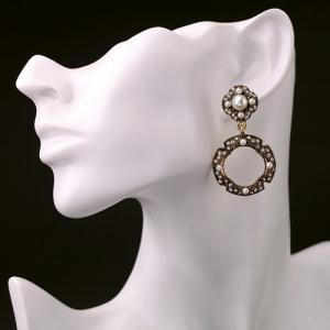 Pair of Vintage Faux Pearl Round Hollow Out Earrings For Women -