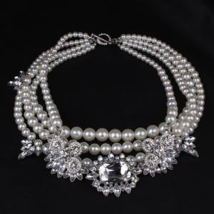 Graceful Layered Faux Pearl Beads Necklace For Women - WHITE