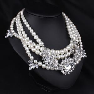 Graceful Layered Faux Pearl Beads Necklace For Women -