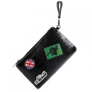 Fashion Black Color and Zip Design Clutch Bag For Men -