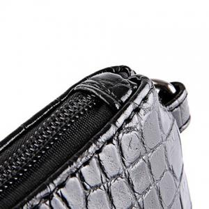 Fashion Black Color and Zip Design Clutch Bag For Men - BLACK