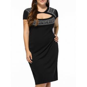 Plus Size Print Bodycon Cutout Cocktail Dress