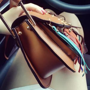 Bohemian Colorful Fringe and PU Leather Design Crossbody Bag For Women -