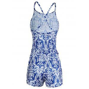 Sleeveless Backless Paisley Printed Romper -