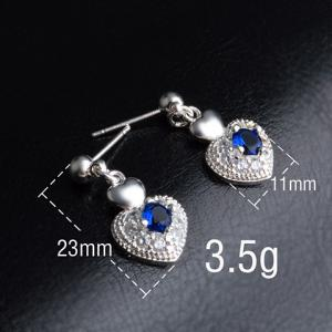 Pair of Stylish Faux Sapphire Setting Sweet Double Hearts Shape Dangle Earrings -