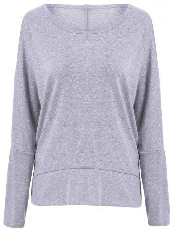 Large GRAY Scoop Neck Long Sleeve Cut Out Solid Color T Shirt