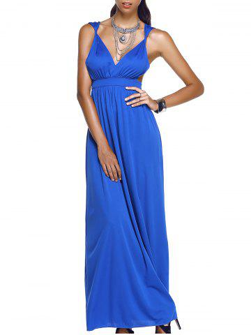Affordable Empire Waist Plunging Neck Maxi Formal Dress SAPPHIRE BLUE XL