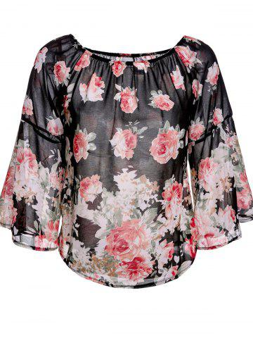 Sale Sweet Off-The-Shoulder Floral Print Long Sleeve Blouse For Women
