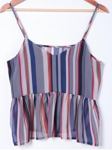 Affordable Fashionable Spaghetti Straps Striped Top For Women COLORMIX S