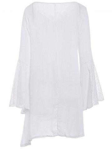 Outfit Stylish V-Neck Lace Splicing Flare Sleeve Dress For Women - M WHITE Mobile