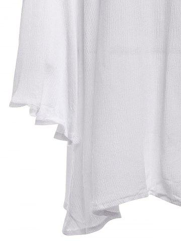 Unique Stylish V-Neck Lace Splicing Flare Sleeve Dress For Women - L WHITE Mobile
