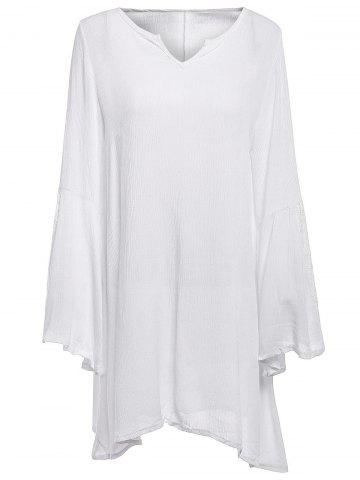 Latest Stylish V-Neck Lace Splicing Flare Sleeve Dress For Women - XL WHITE Mobile